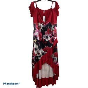 Rosegal Floral Butterfly Cold Shoulder Dress
